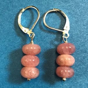 Sterling Silver Pink Quartz Earrings